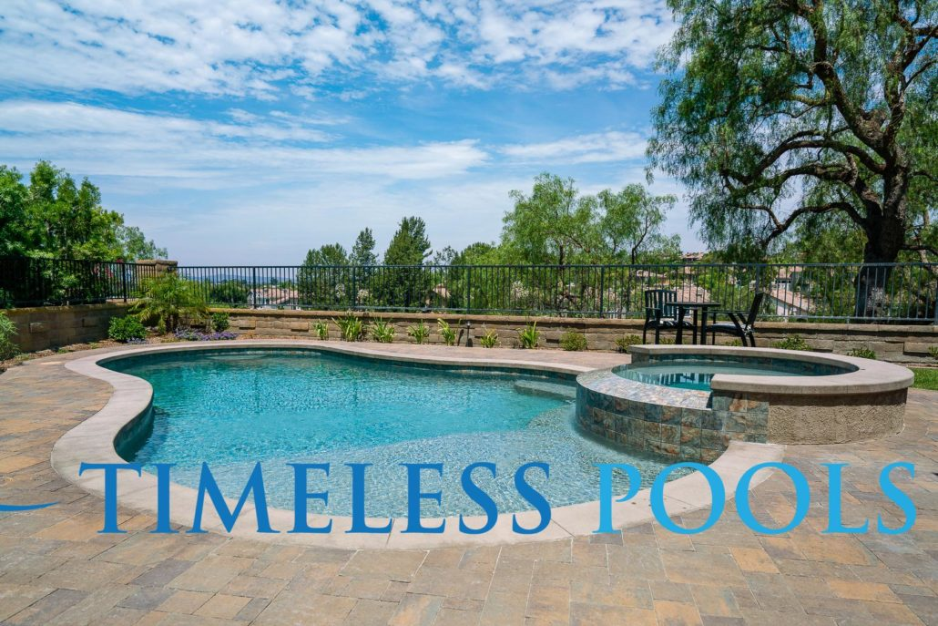 Freeform pool and spa by Timeless Pools during the day